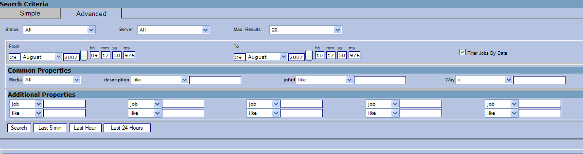 Figure 1Simple search tab The server dropdown allow for choose a specific DDS server (in case more are in use in the distributed system) or simply all configured DDS servers (which will be one single