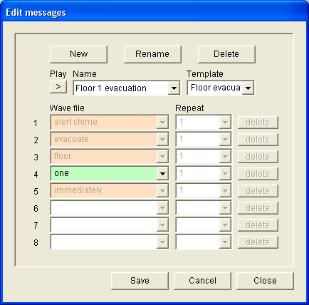 Plena Voice Alarm System Software Manual Messages en 31 4 Select Floor evacuation from the Template dropdown list to create a message that is based on the Floor evacuation template.