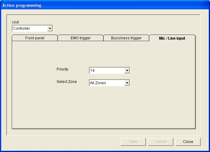 Each business trigger input is programmed with individual settings via the Message, Select Zone and Priority drop-down lists (see section 7.2.4.2).
