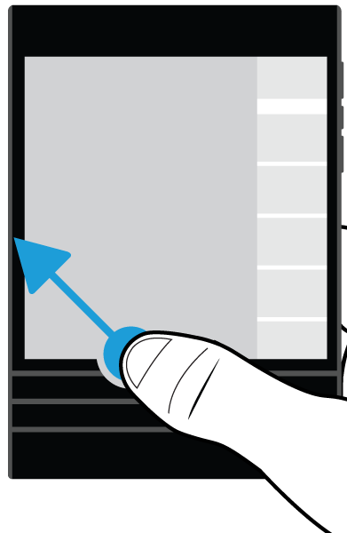 Applications and features To see the additional actions that you can perform, in an app, swipe down from the top of the screen.