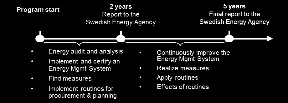 Figure 8. Timeline of activities for companies participating in Sweden s five-year PFE cycle.