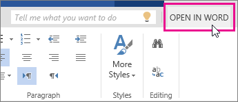 Switch to the full version Office Online offers most of the commonly used features. You can type format text, add pictures, adjust the layout of the page, and more.