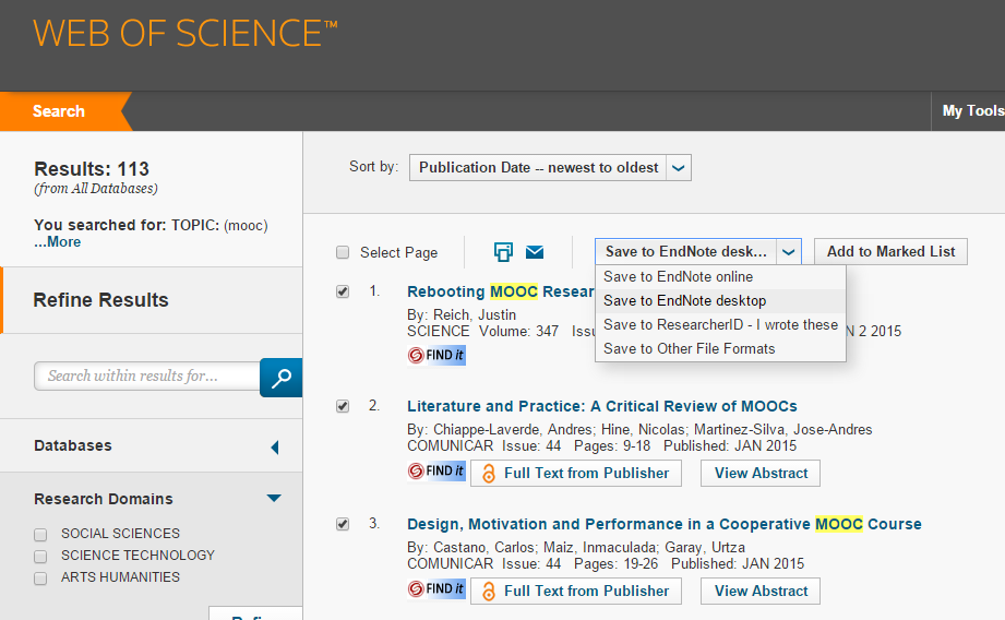 Add references (Export from online databases) Web of Science 1.
