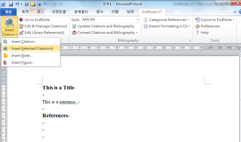 Cite references in Microsoft Word 1 1. Select reference(s) in EndNote you want to cite 3 2 5 4 2. Go to Word EndNote X7 3.
