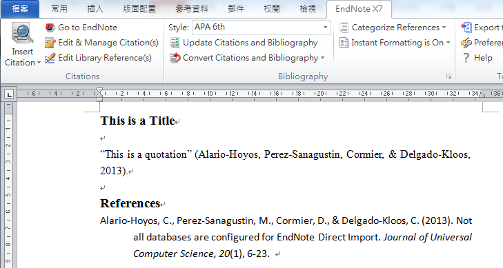 Edit reference information Any changes in reference information (e.g. fix a typo) need to be done in the EndNote library (not the Word document).