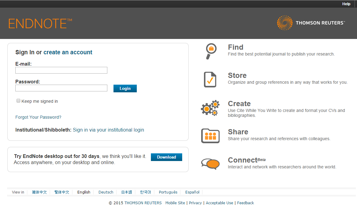 Create your EndNote Online account Go to: