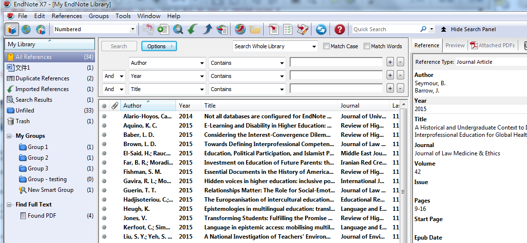 Syncing with EndNote (desktop version) 3.