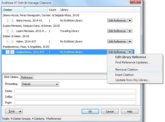 Removing references from a Word document 2 1. Select the reference for removal 2.