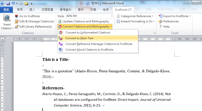 Convert the formatted citations to plain text 1.