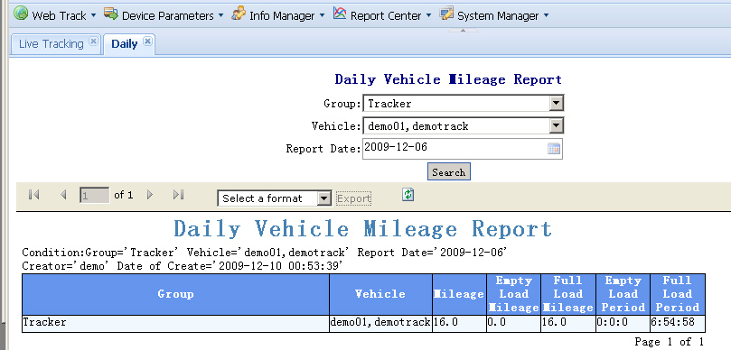 monthly mileage report