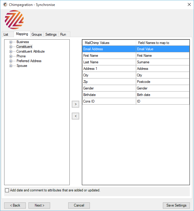 Groups It is possible to synchronise MailChimp groups to Raiser s Edge attributes, solicit codes or constituent codes.