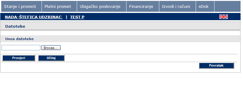 A screen will appear as shown in Figure 24. Figure 24 Upload payment orders from the file Click Browse to select the file you wish to upload to e-zaba.