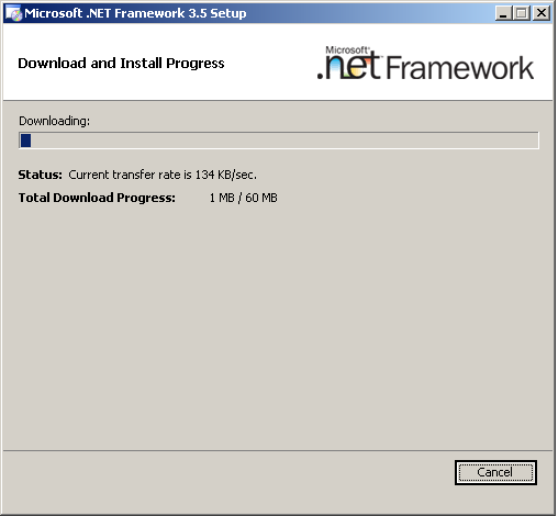 6..NET installation components will automatically begin downloading and installing. 7.