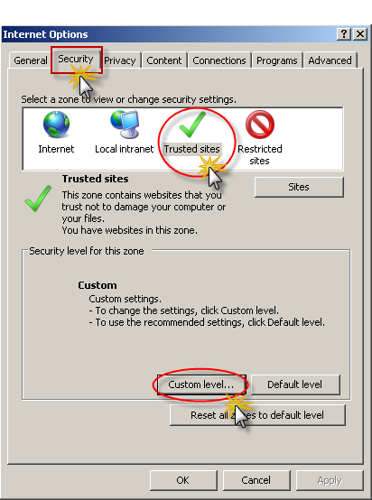 Security Settings 1. Select Tools/Internet Options. Click the Security tab to display the Security options. Click on Trusted Sites. 2.