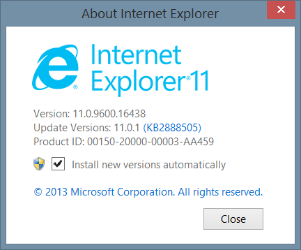 Internet Explorer Version 10 & 11: Note the default is selected to Install new versions automatically.