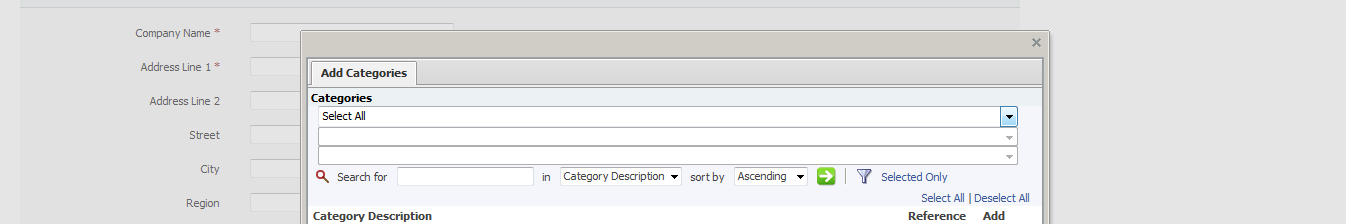 Click Select Category Codes. A pop up box will appear displaying the category codes as populated by CSL.