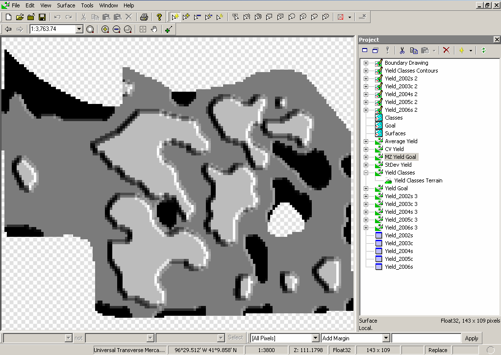 24. For further calculation, we need to convert this contour map back to a surface map. Right-click the Yield Classes Contours drawing component in the Project pane and choose Copy.