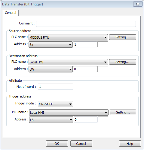 13-128 Destination address Data Transfer object writes the data to [Destination Address]. 13.26.2.2. Data Transfer Bit Trigger General Tab Click the [New] button in the Data Transfer management dialog box, and open [Bit trigger] tab.