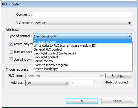 13-129 13.27. PLC Control 13.27.1. Overview PLC Control object can execute commands when it is triggered. 13.27.2. Configuration Click the PLC Control icon on the toolbar to open the PLC Control Object management dialog box.