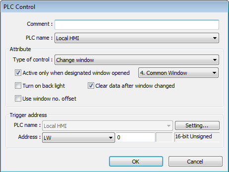13-130 13.27.2.1. Type of Control Change window Setting Active only when designated window opened Turn on back light Clear data after window changed Use window no.