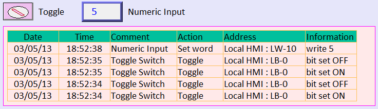 13-179 3. Create an Operation Log View object and finish relevant settings. 4. Run off-line simulation; trigger Toggle Switch and Numeric Input object.