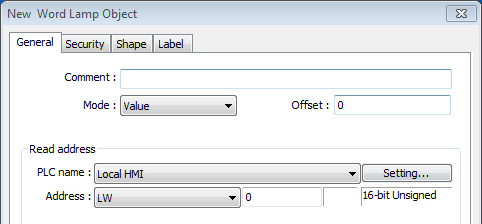 13-6 General Tab Setting Comment Mode / Offset Description User can describe the information of the object.