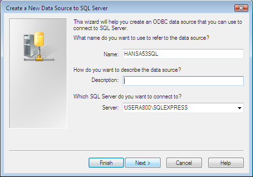 Figure 1: Setting a new SQL Server DSN Creating the ODBC DSN (Continued) Give the DSN a name. This name can be the same name as the SQL Server database.