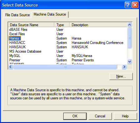 4. Select the data source which is the ODBC DSN
