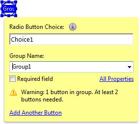 3. Position the shaded box in the proper location on the form, and then click the mouse button. Figure 22 - Radio Button Form Element 4. Type a descriptive name for the field in the Field Name box. 5.