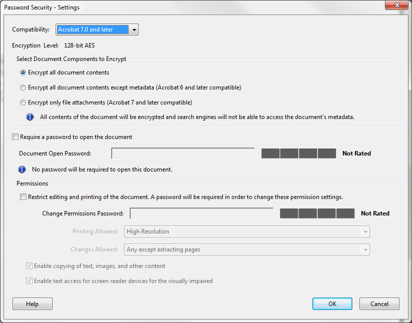 Figure 43 - Encrypt with Password 4. Click Encrypt with Password. 5. If the Applying New Security Settings dialog box appears, click the Yes button. The Password Security Settings dialog box appears.