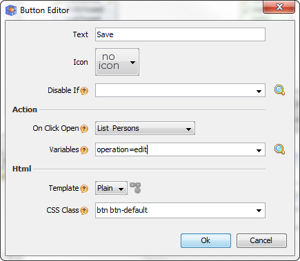 Add one more row and create a button. Choose button Use Save as button text. In the action field we can choose what will be done when the button is clicked.