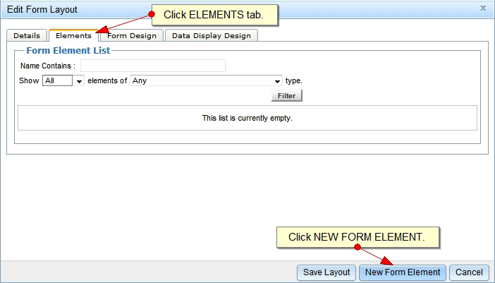 Creating a New Web Form: To create a new web form, click on the Add New Form Layout button. Name your form and hit Tab.
