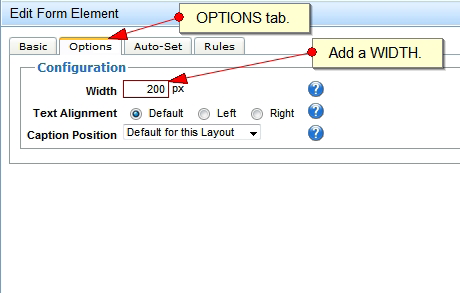 Editing a Form Element: Basic Tab This shows the essential information of a form element. You can also change an element s position within the form here.