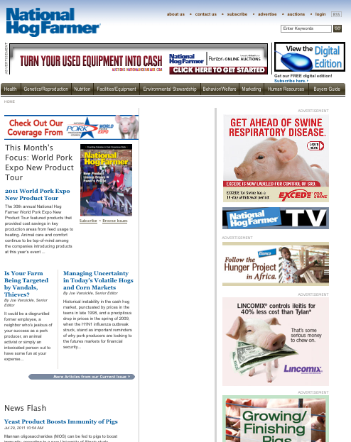 online - QUICK REFERENCE - Table of Contents -o... Website Advertising -o... Weekly Preview 3-o... Pork Industry Express 4-o... Nutrient Management 5-o... eblasts 6-o.