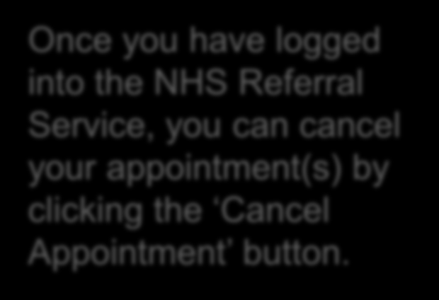 you can cancel your appointment(s) by