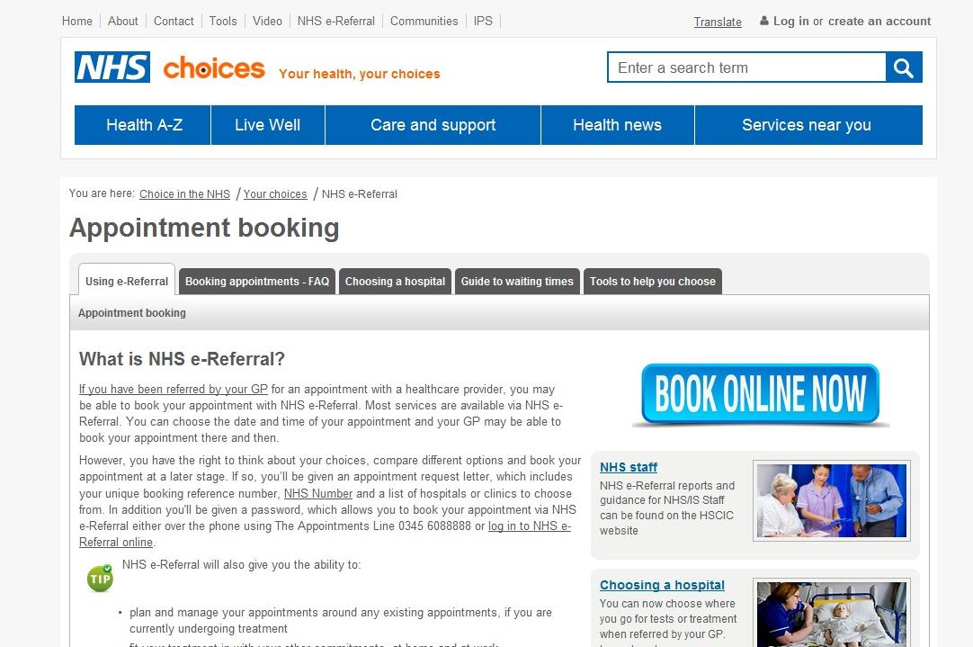 Logging into the Patient Booking Website From