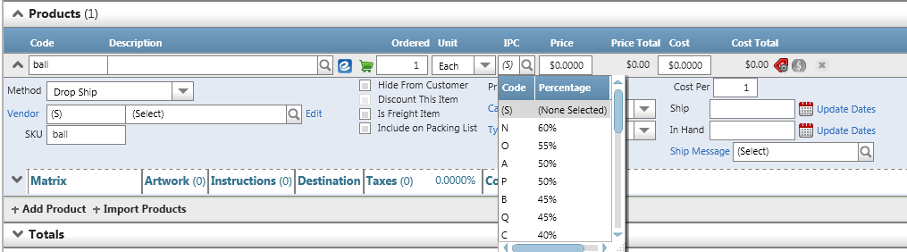 Orders/Invoices...How Do I? Use Industry Price Codes (IPC)? Calculating cost or price using industry price codes (IPC) can be utilized in the Order Resource in the Product Expander.