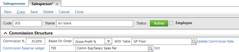 Supervise...How Do I? Create a Commission Table?, Continued. For a Commission Table based on Gross Profit, the beginning range will start with 0.00% and the ending range will end with 99.99%.