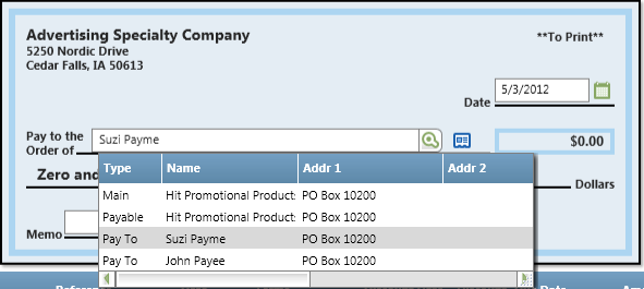 Vendors...How Do I? Change the Pay-to name on a check? Continued... The vendor resource allows you to have multiple Pay to contacts.