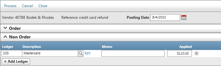 Vendor s...how Do I? Refunds from Vendors to your Credit Card continued.. 2. In Bill-Apply, there will also be 2 steps to handle the 2 entries made above. A.