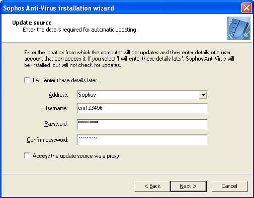 2.2 Install Sophos Anti-Virus 1. On the Welcome page of the Sophos Anti-Virus installation wizard, click Next to start installing. 2.