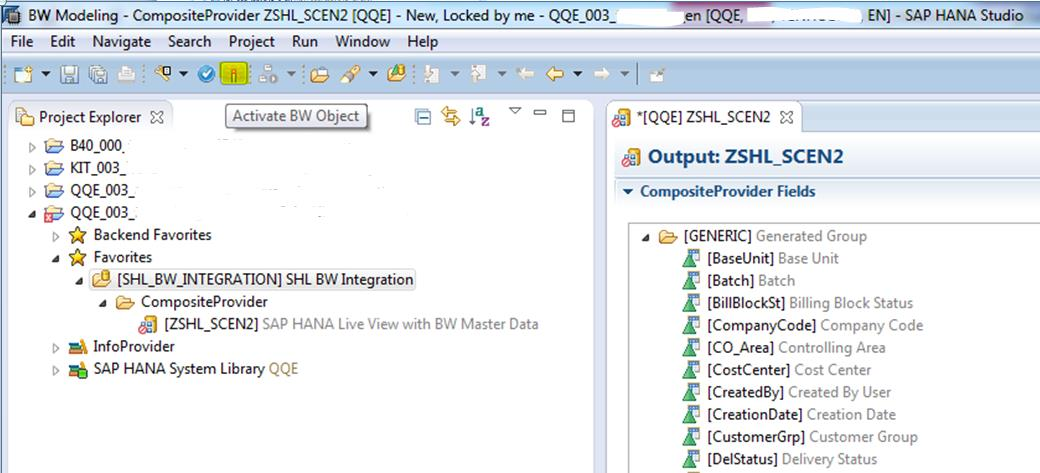 Integration Scenario B Transactional data exploration via HANA Live enriched by BW master data Step 6 Activate CompositeProvider and