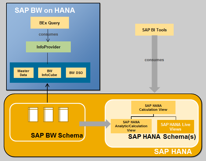 Other possible Scenarios Historic BW data virtually accessed via HANA View which combines HANA Live and BW