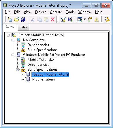 Figure 8. Two Build Specifications in the Project Explorer Window Adding a Probe to the VI Probes display information about the data that passes through a wire.