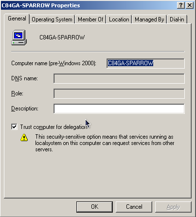 15 5.2 Service Accounts On your Active Directory Controller, open the Users and Computers MMC snap-in and launch the Computer properties dialog for the Cognos Express computer account and the Cognos