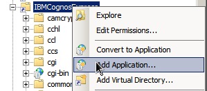 8 4. Create the following two new virtual directories in the Web server. IBMCognosExpress/ This alias should be pointing at the express_gateway_location/cognos Express Gateway/webcontent folder.