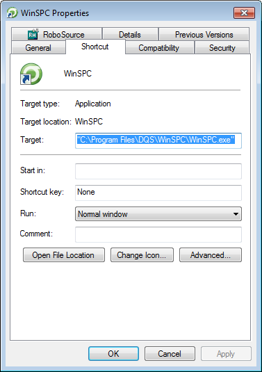 b. In the WinSPC Properties dialog box that is displayed, on the Shortcut tab, note the path in the Target field. This path is the path to the installation folder.