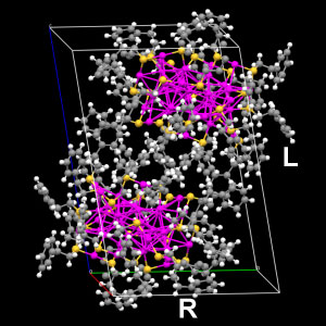 Figure 2. Two chiral isomers of Au 38 (SC 2 H 4 Ph) 18 revealed by X-ray crystallography (color labels: magenta, Au; yellow, S; grey: C; white, H). Figure 3.