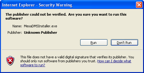 "You will see the following ""File Download - Security Warning"" dialog box. Click on the ""Run"" button in the above ""File Download - Security Warning"" dialog box."