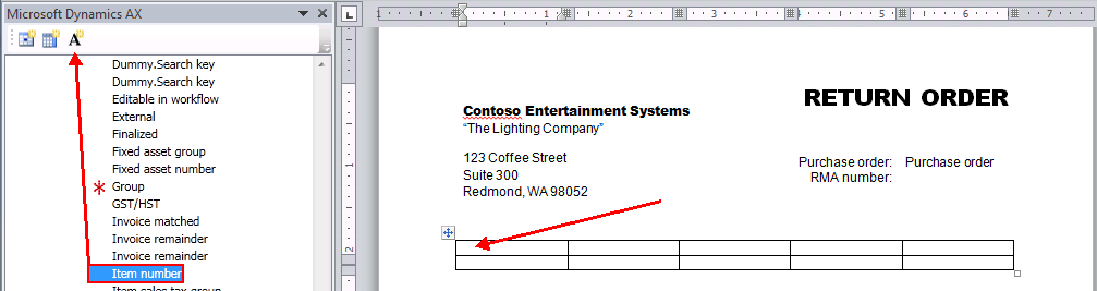 Demonstration: Add Lines with Labels to the Template This demonstration shows you how to create a table that will be used for outputting the lines of the purchase order.